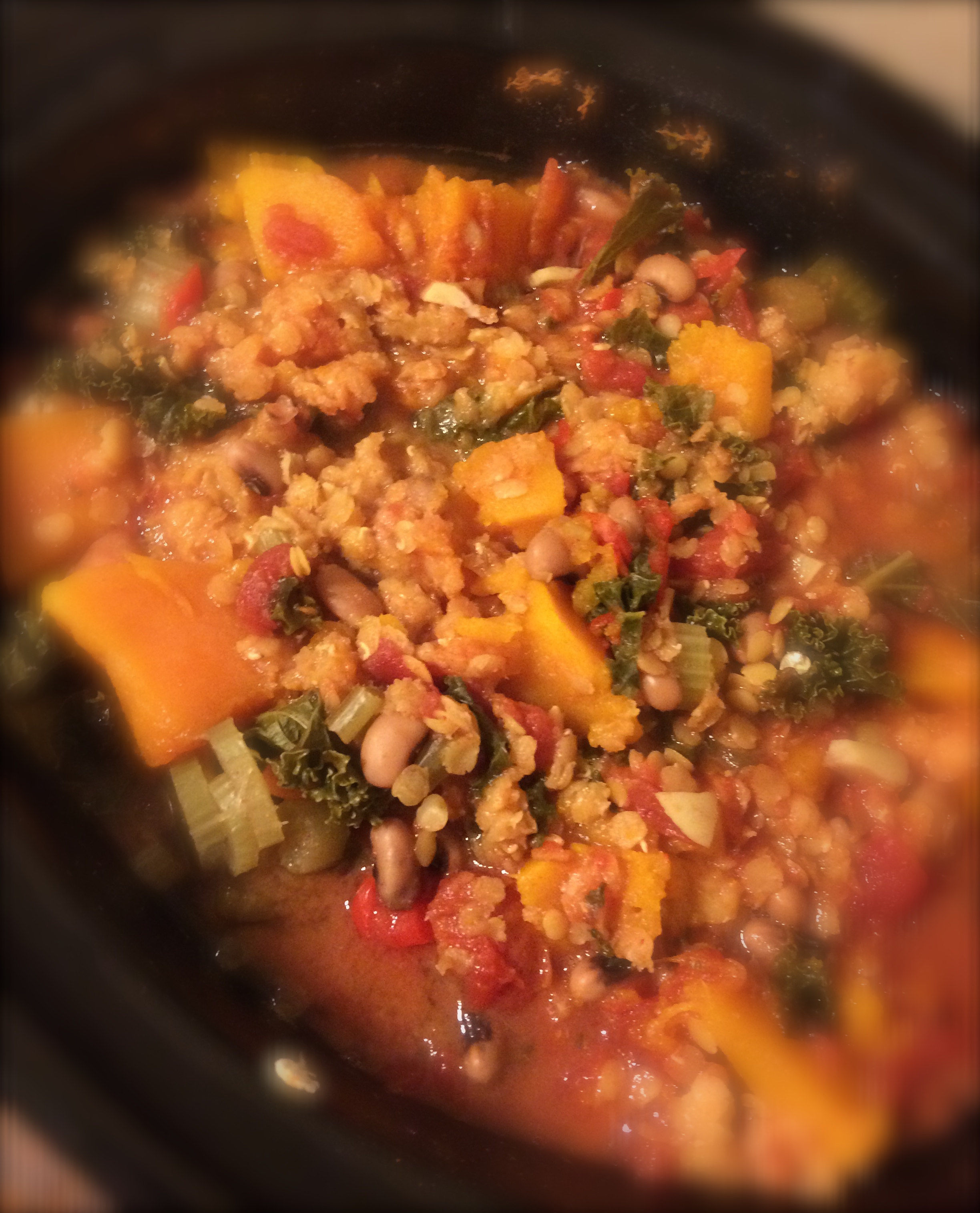 Slow Cooked Buttercup Squash And Kale Stew